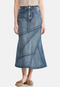 Geo Seamed Denim Maxi Skirt-Plus