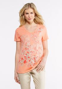 Foiled Floral Tee-Plus