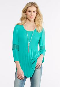 Plus Size Pleated Bell Sleeve Top