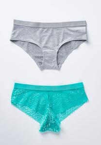 Lace And Heather Panty Set- Plus