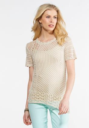 Asymmetrical Open Stitch Sweater   Tuggl