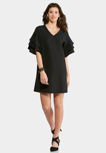 Plus Size Tiered Ruffle Sleeve Dress