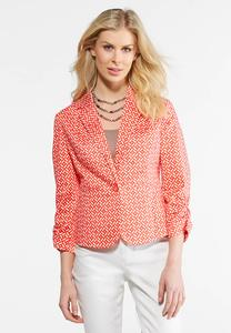 Plus Size Ruched Trellis Jacket