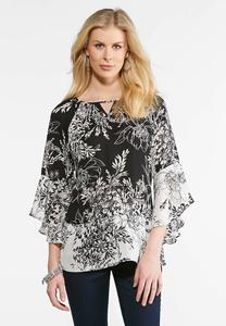 Ruffle Sleeve Floral Print Top