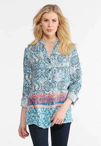 Plus Size Brushed Floral Popover Top
