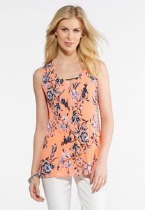 Melon Floral Pleated Top