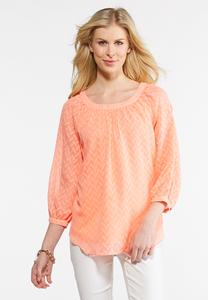 Plus Size Jacquard Split Sleeve Top
