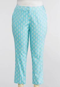 Blue Floral Ankle Pants-Plus