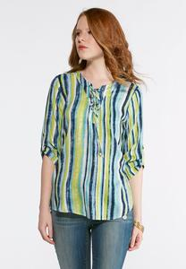Shades Of Blue Striped Top