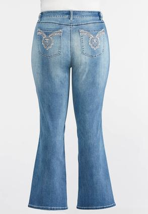 Pearl And Rose Gold Embellished Jeans- Plus