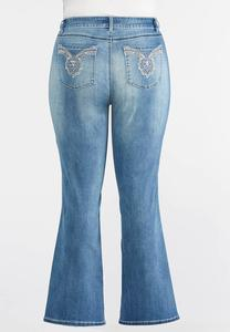 Pearl and Rose Gold Embellished Jeans-Plus
