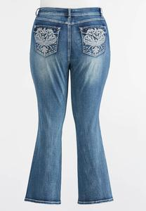 Rhinestone Embellished Pocket Jeans- Plus