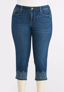 Cropped Decorated Hem Jeans-Plus