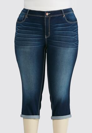 Plus Size Cropped Dark Wash Jeans