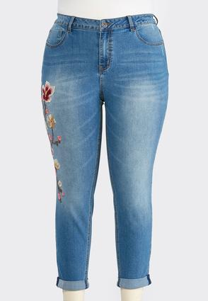 Plus Size Floral Embroidered Ankle Jeans | Tuggl