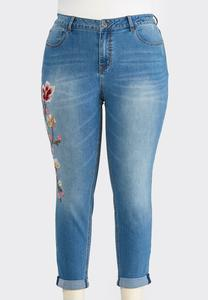 Plus Size Floral Embroidered Ankle Jeans