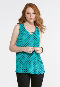Plus Size Green Polka Dot Pleated Tank
