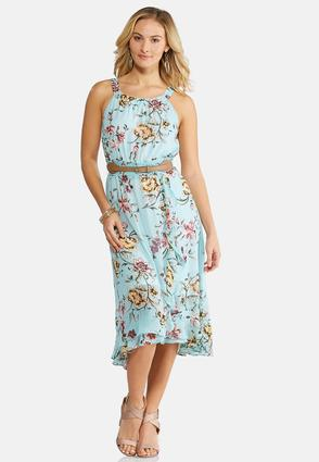 Plus Size Belted Floral Midi Dress