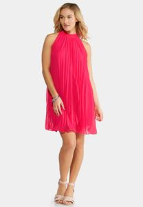 Pink Cosmo Pleated Swing Dress