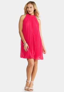 Plus Size Pink Cosmo Pleated Swing Dress