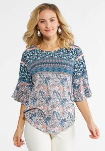 Mixed Print Flutter Sleeve Top