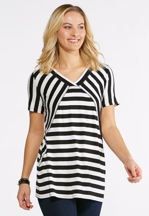 Plus Size Striped Seamed V- Neck Top
