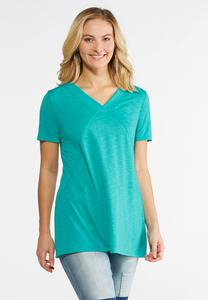 Plus Size Seamed V-Neck Top