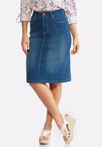 Plus Size Soft Stretch Denim Skirt