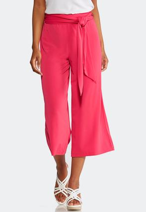 Belted Wide Leg Knit Crops