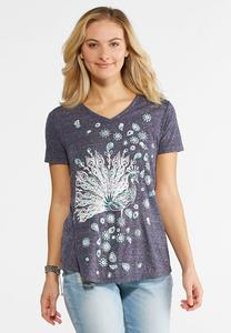 Peacock Puff Print Top