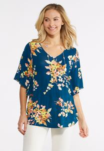 Floral Pom-Pom Embellished Top