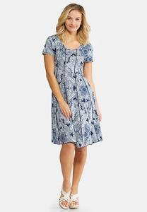 Seamed Navy Paisley Dress