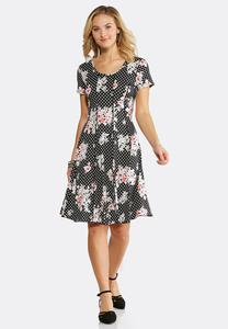 Plus Size Seamed Floral Dot Dress