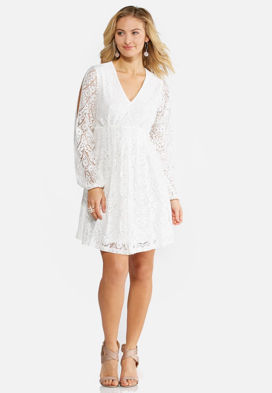 Plus Size Allover Lace Empire Swing Dress A Line Swing Cato Fashions