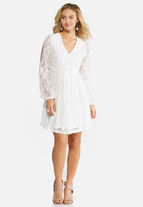 Plus Size Allover Lace Empire Swing Dress | Tuggl
