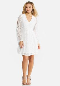 Plus Size Allover Lace Empire Swing Dress