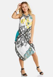 Mixed Floral Hanky Hem Dress