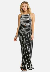 Plus Size Black And White Geo Maxi Dress