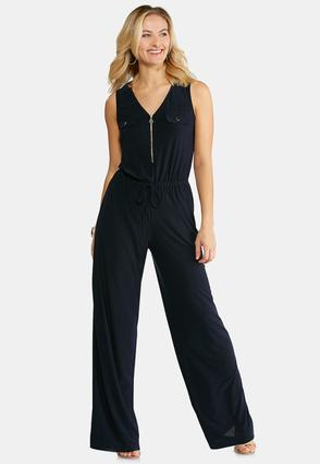 Petite Navy Tie Waist Jumpsuit at Cato in Brooklyn, NY | Tuggl