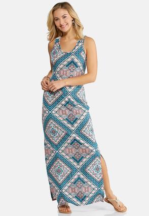 Geo Floral Maxi Dress | Tuggl