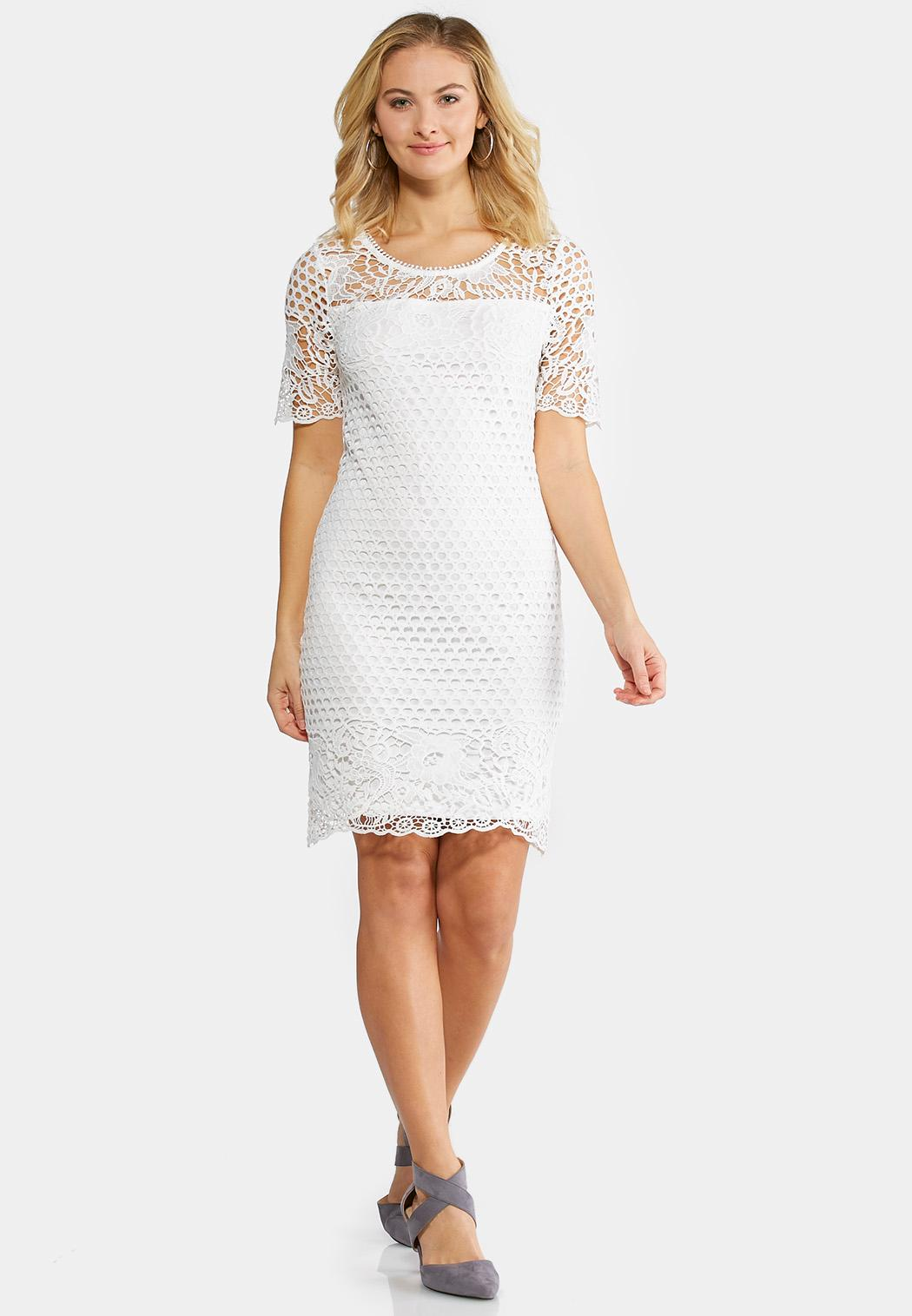 Plus Size White Crochet Sheath Dress Plus Sizes Cato Fashions