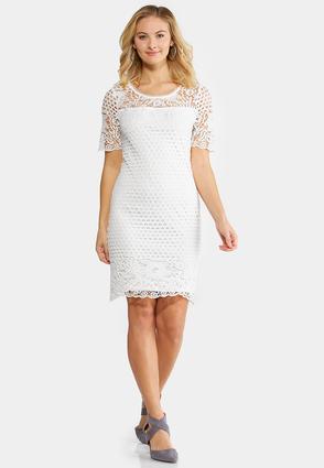 Plus Size White Crochet Sheath Dress | Tuggl