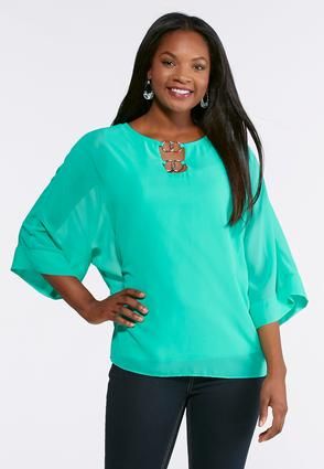 Plus Size Embellished Metal Ring Top