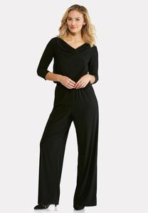 Plus Size Draped Blouson Jumpsuit