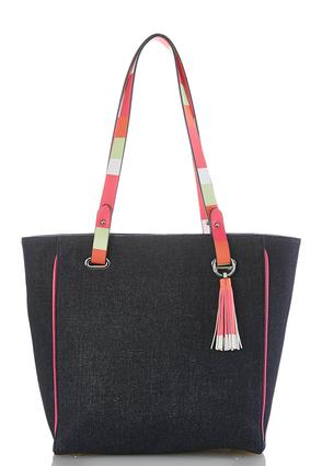 Striped Strap Denim Tote