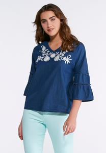 Embroidered Ruffled Chambray Top