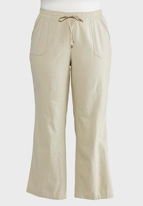 Drawstring Linen Pants-Plus | Tuggl
