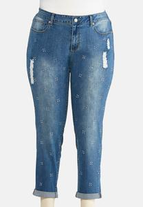 Plus Size Distressed Star Rhinestone Jeans