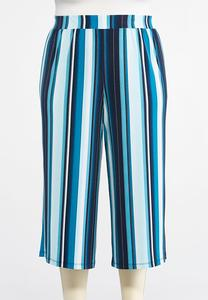 Plus Size Cropped Seaport Stripe Palazzo Pants