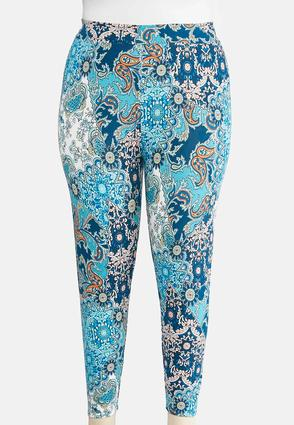 Plus Size Cropped Whimsical Floral Leggings